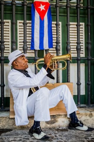 busker, cuba, festival, flag, havana, jazz, man, portrait, spats, travel, trumpet