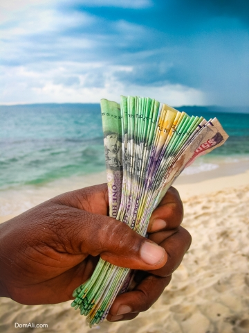 beach, cash, debt, dollars, economy, Jamaica, lime cay, poverty, sand, selling, storm, third world